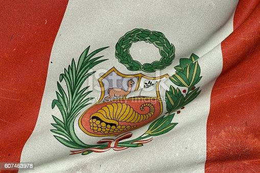 istock Republic of Peru flag waving 607463978