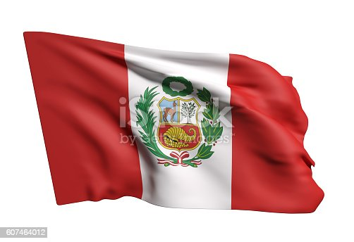 istock Republic of Peru flag waving 607464012