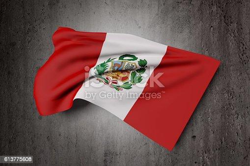 istock Republic of Peru flag waving 613775608