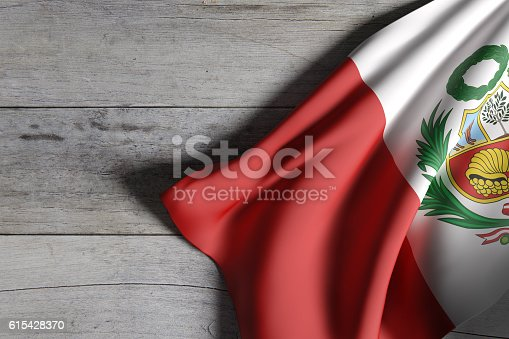 istock Republic of Peru flag waving 615428370