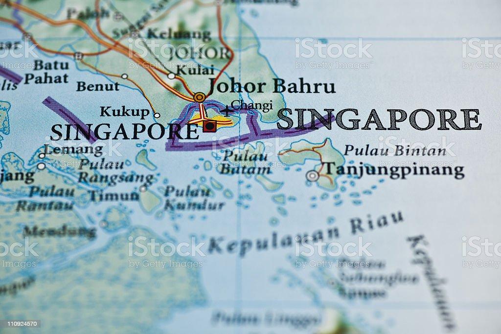 Republic of Singapore map royalty-free stock photo