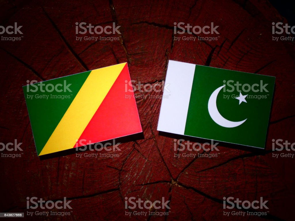 Republic of the Congo flag with Pakistan flag on a tree stump isolated stock photo