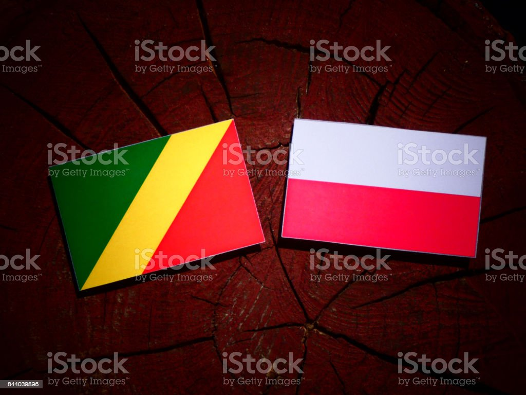 Republic of the Congo flag with Polish flag on a tree stump isolated stock photo