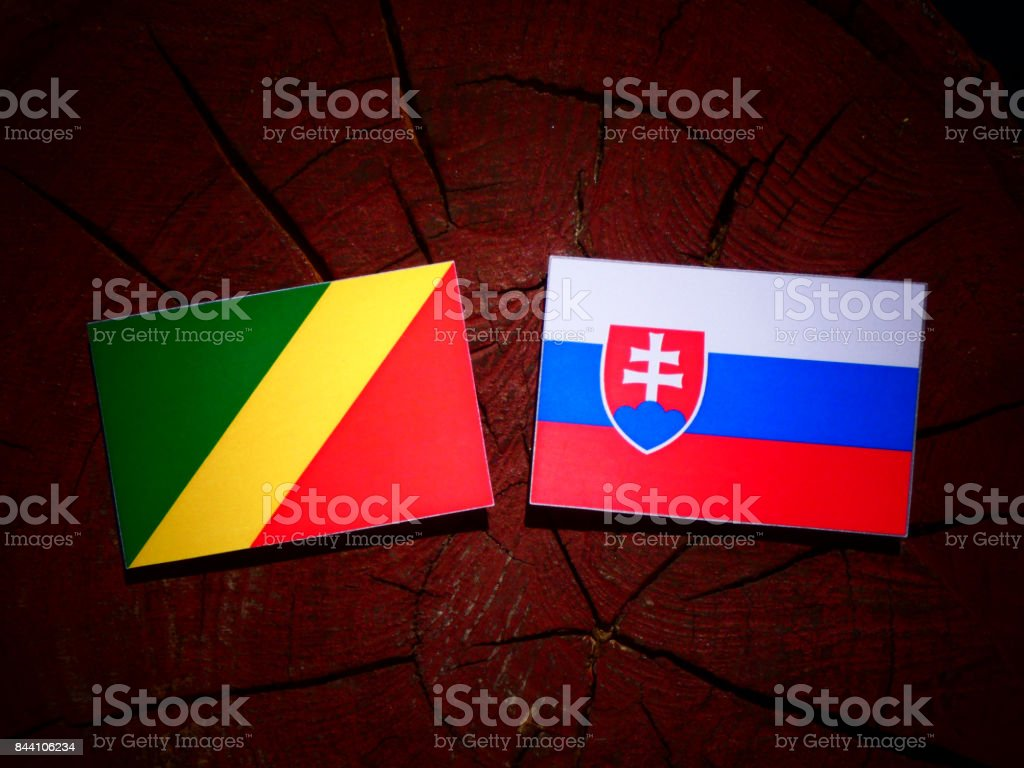 Republic of the Congo flag with Slovakian flag on a tree stump isolated stock photo