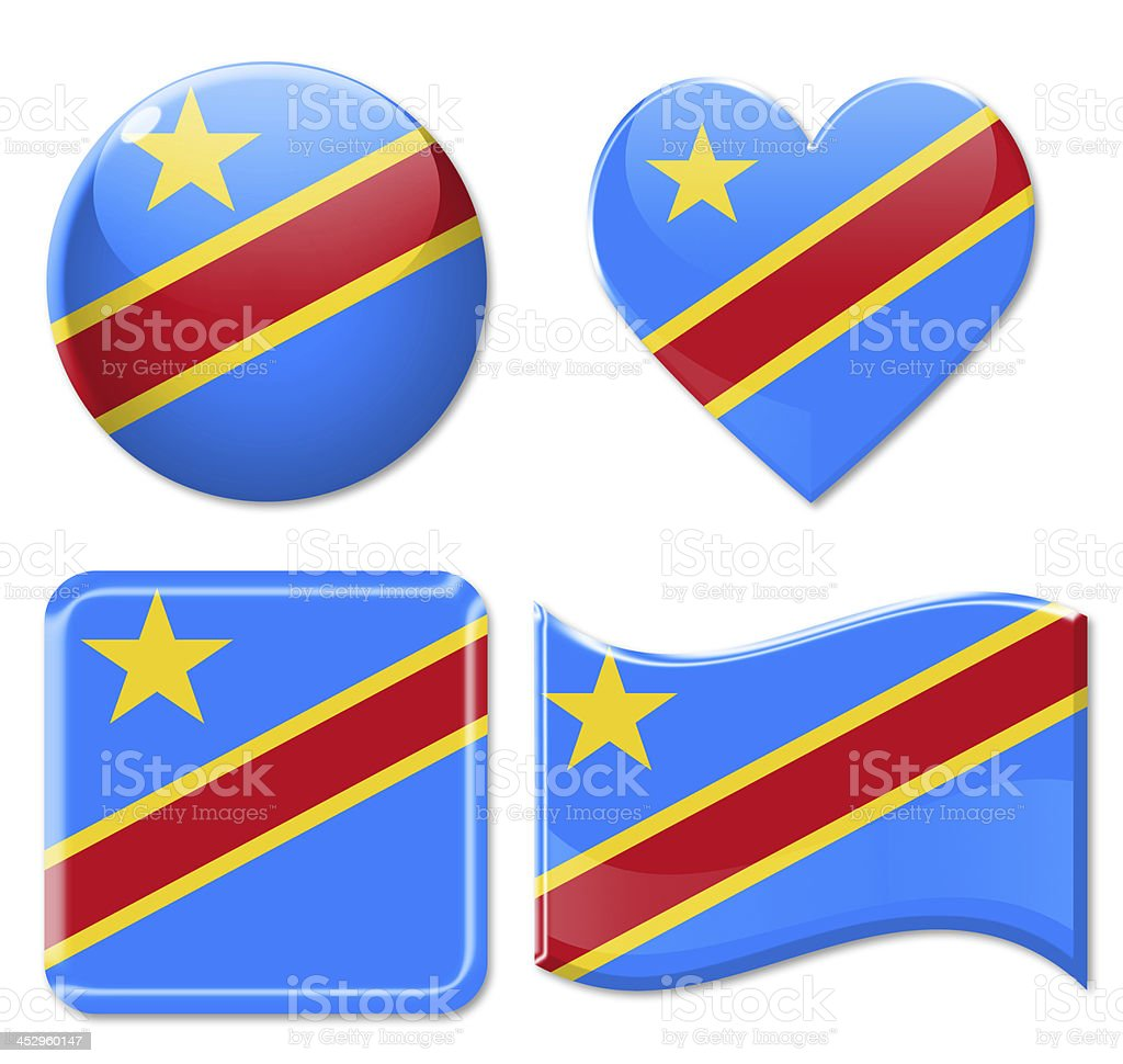 Republic of the Congo Flags & Icon Set stock photo