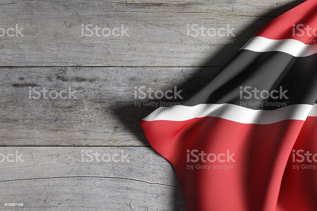 Republic of Trinidad and Tobago flag waving stock photo