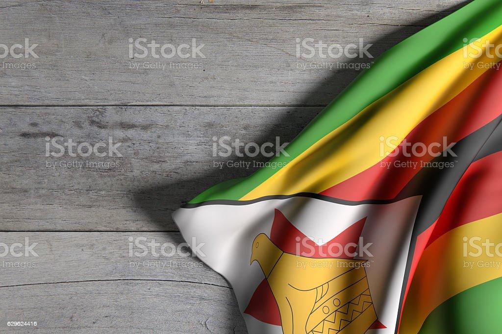 Republic of Zimbabwe flag waving stock photo
