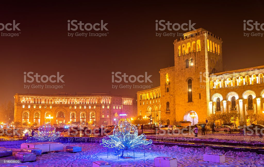 Republic Square decorated for Christmas, Yerevan stock photo