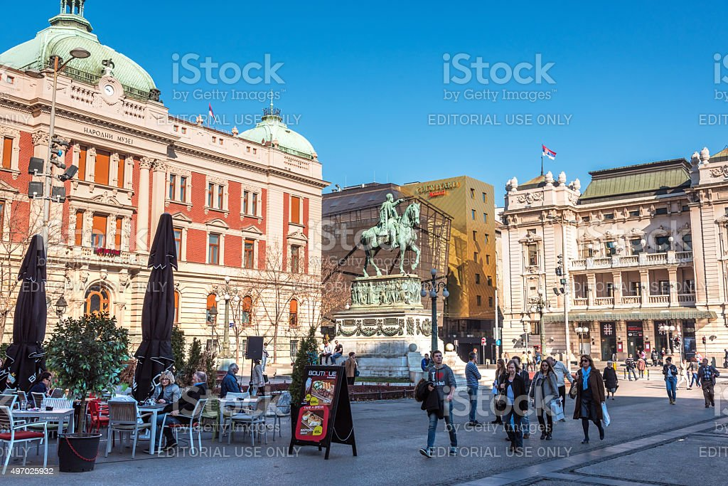 Republic square in Belgrade, Serbia stock photo