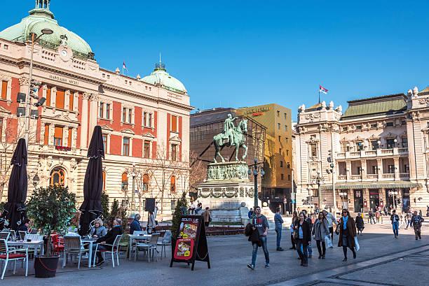 republic square in belgrade, serbia - belgrade serbia stock photos and pictures