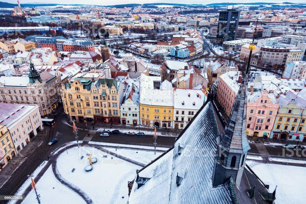 Republic Square in Pilsen stock photo