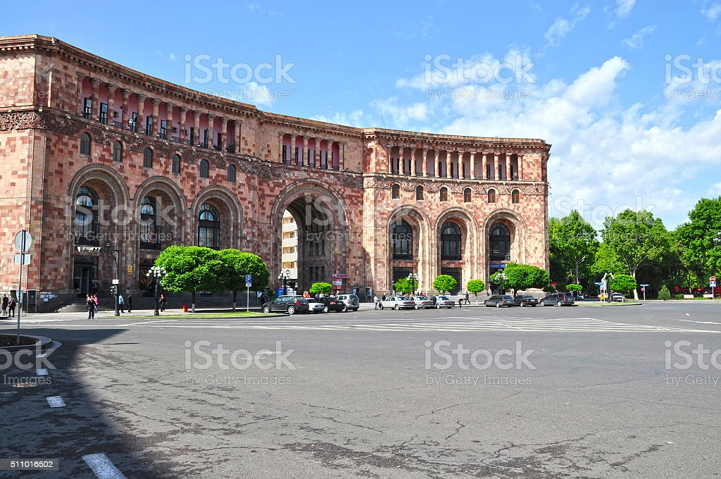Republic Square in Yerevan. stock photo