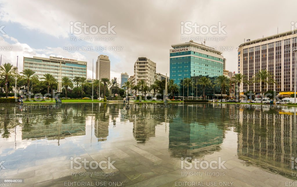 Republic Square view in Izmir at rainy day stock photo