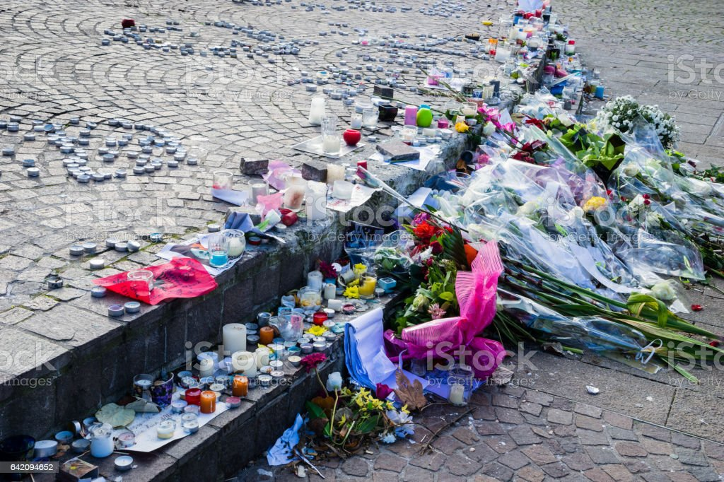 Republic Square vigil place, Lille, France stock photo