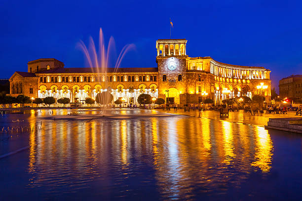 Republic Square, Yerevan The Government of the Republic of Armenia at night, it is located on Republic Square in Yerevan, Armenia. yerevan stock pictures, royalty-free photos & images