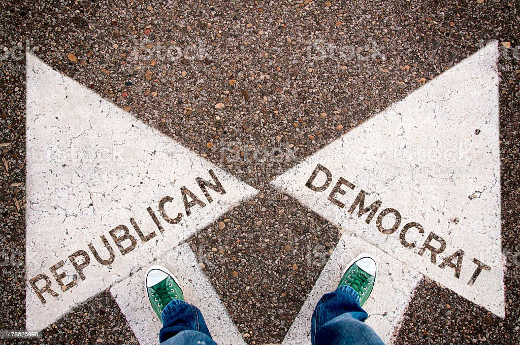 Republican and Democrat sign stock photo