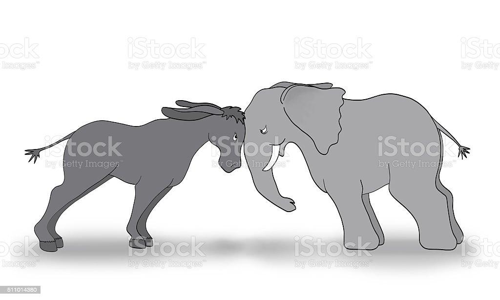 Republican Democrat Debate Illustration Gray Elephant Donkey