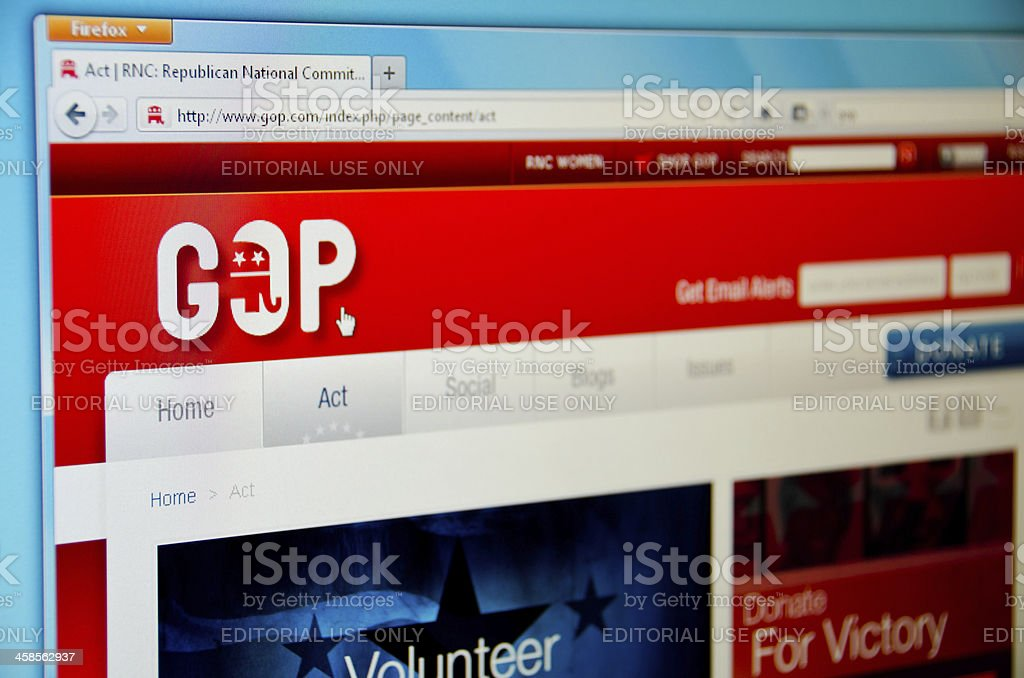 Republican Party website Denver, USA - May 15,2011: Official website of the Republican Party in USA. GOP.com American Culture Stock Photo