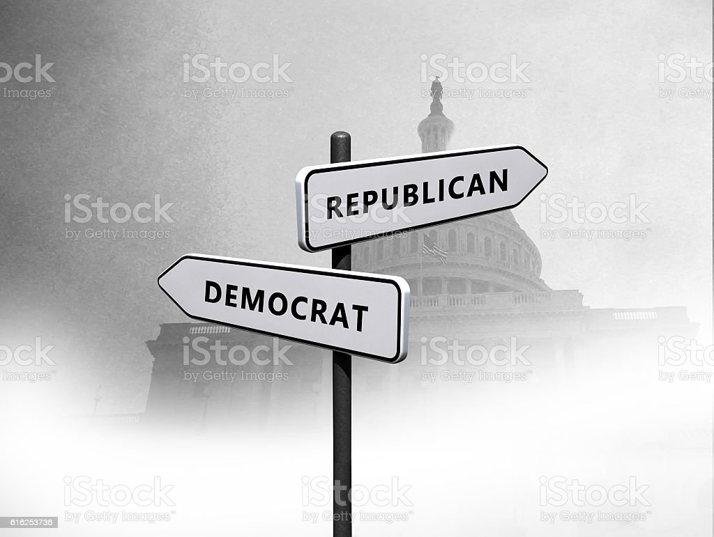 Republican vs Democrat stock photo