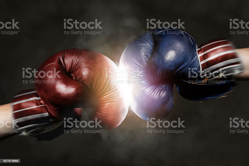 Republicans and Democrats in the campaign symbolized with Boxing stok fotoğrafı
