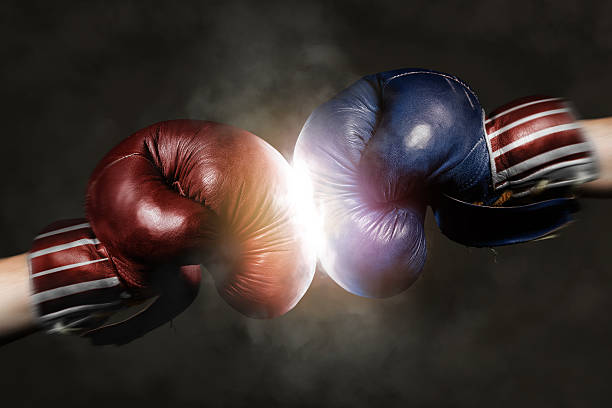 Republicans and Democrats in the campaign symbolized with Boxing stock photo