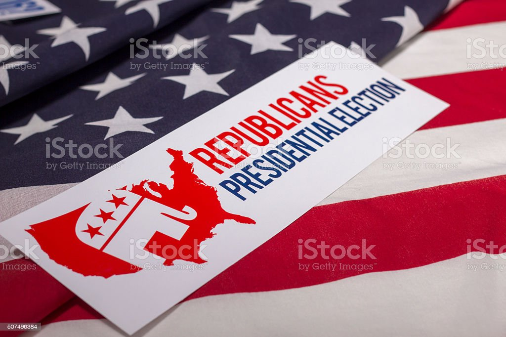 Republicans Presidential Election Vote and American Flag stock photo