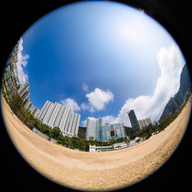 Repulse Bay Beach in Hong Kong Repulse Bay Beach in Hong Kong fish eye lens stock pictures, royalty-free photos & images