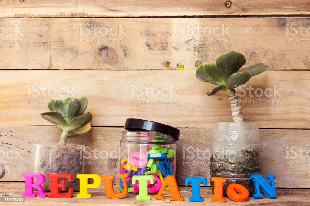 reputation concept and pot of colorful letters and plant stock photo