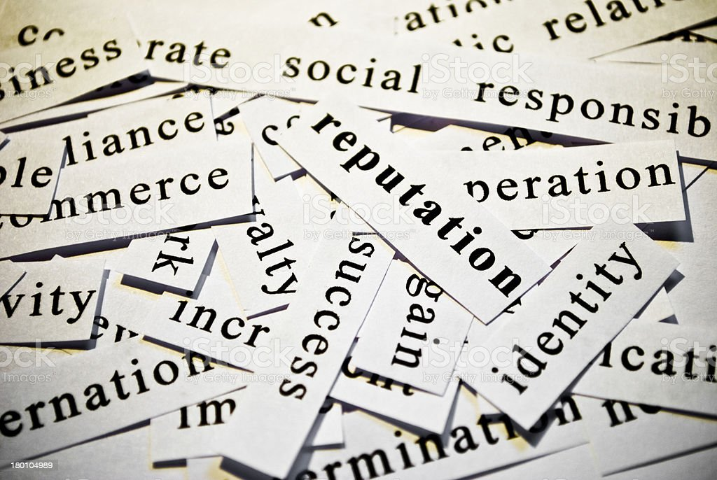 Reputation. Concept of cutout words related with business. stock photo