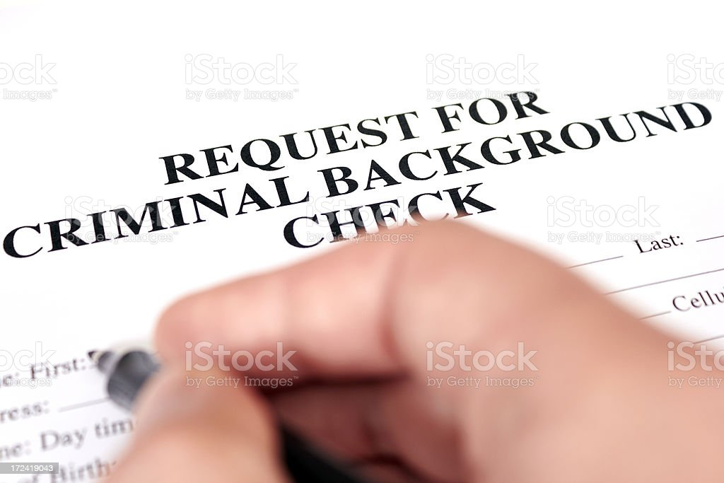 Request for a criminal background check royalty-free stock photo
