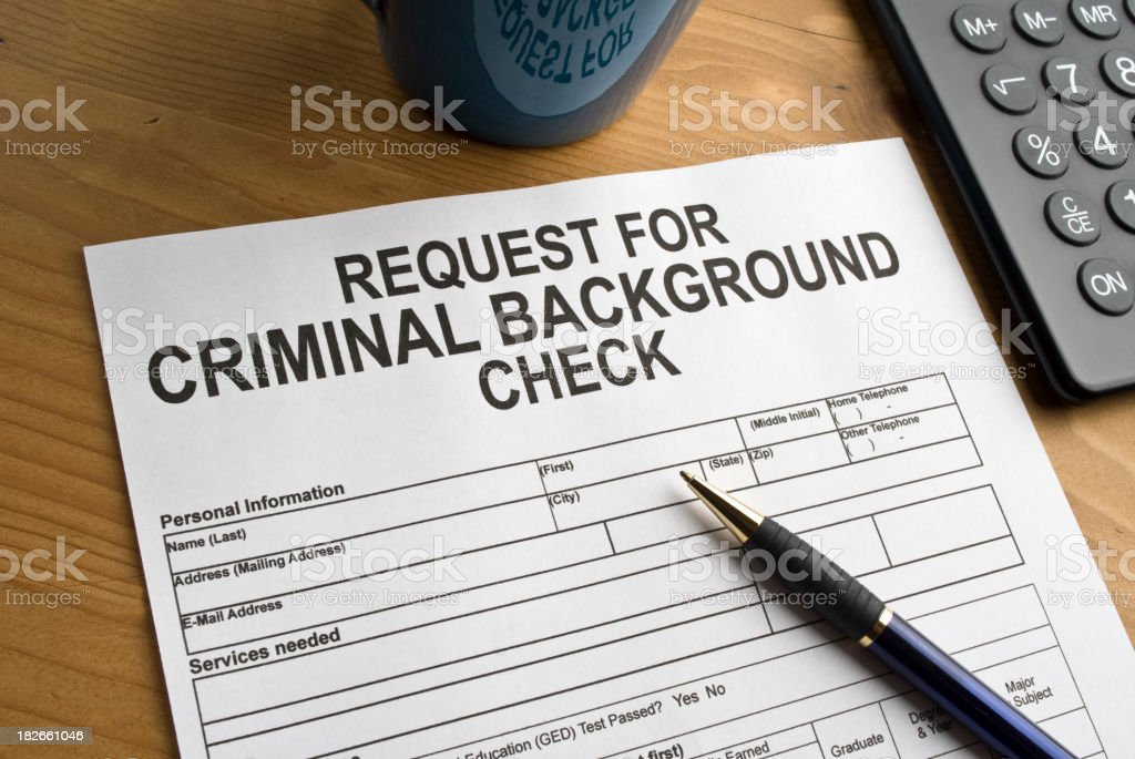Request for a criminal background check stock photo