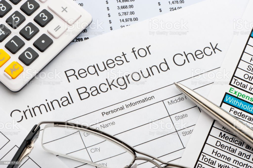Request for criminal background check royalty-free stock photo