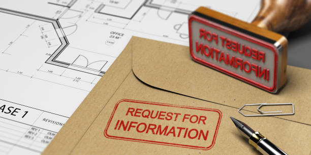 Request for Information in Construction, RFI Request for information printed on a kraft envelop, with office supplies, rubber stamp and blueprint, RFI and construction concept. 3D illustration information medium stock pictures, royalty-free photos & images