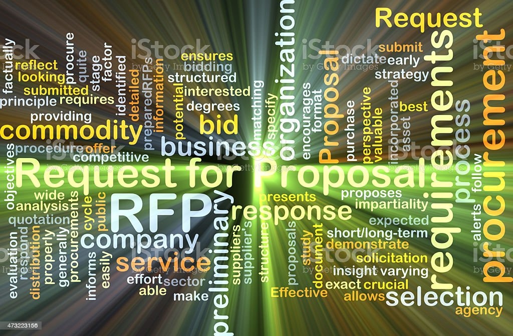 Request for proposal RFP background concept glowing stock photo