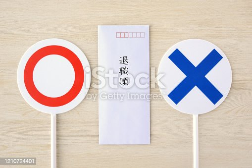 Request for retirement in Japanese and right or wrong plates