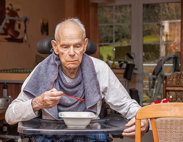 Requiring care Seniors eating - Photo