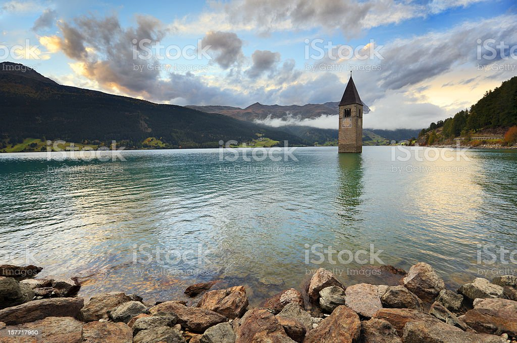 Reschensee - Lake Reschen stock photo