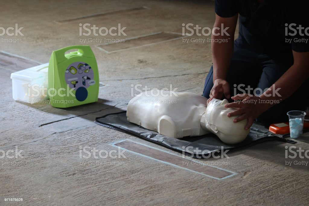 Rescue and  first aids training CPR and AED stock photo