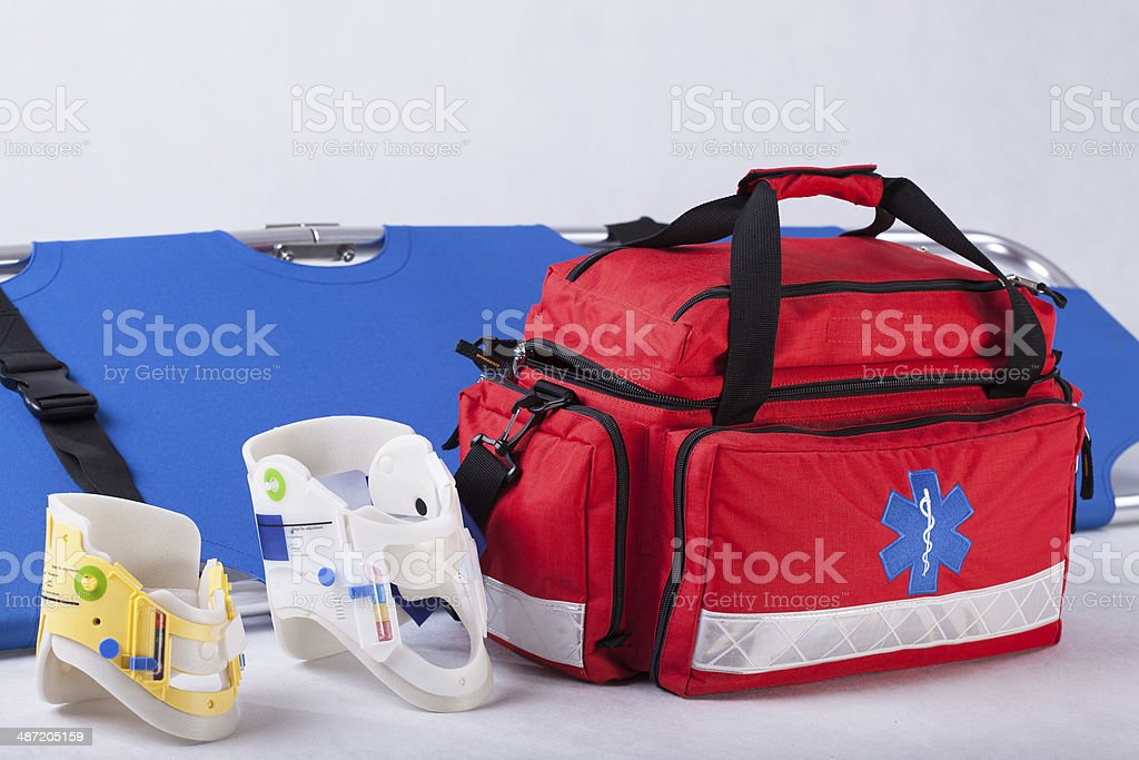 Rescue bag, cervical collars and stretcher stock photo
