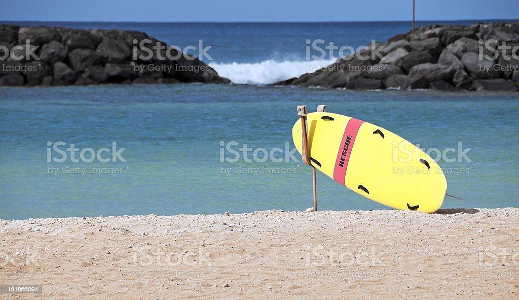 Rescue board at Ala Moana Park on Oahu royalty-free stock photo