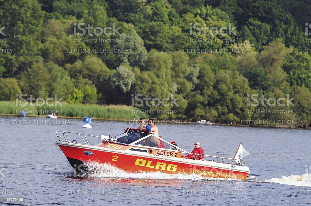 rescue boat of German Life Saving Association (Berlin - Germany) stock photo