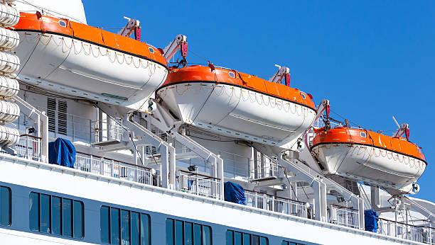 rescue boats on big passenger ship - livbåt bildbanksfoton och bilder