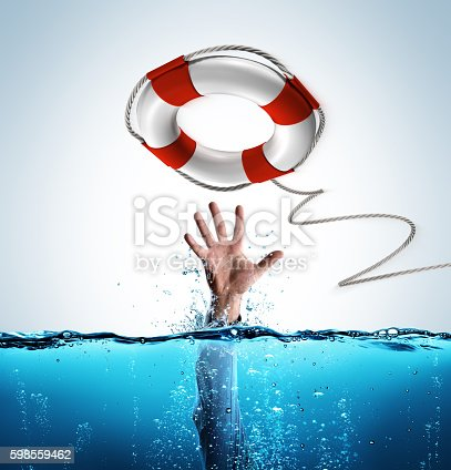 istock Rescue Concept - Lifesaver As Aid Of Businessman Drowning 598559462