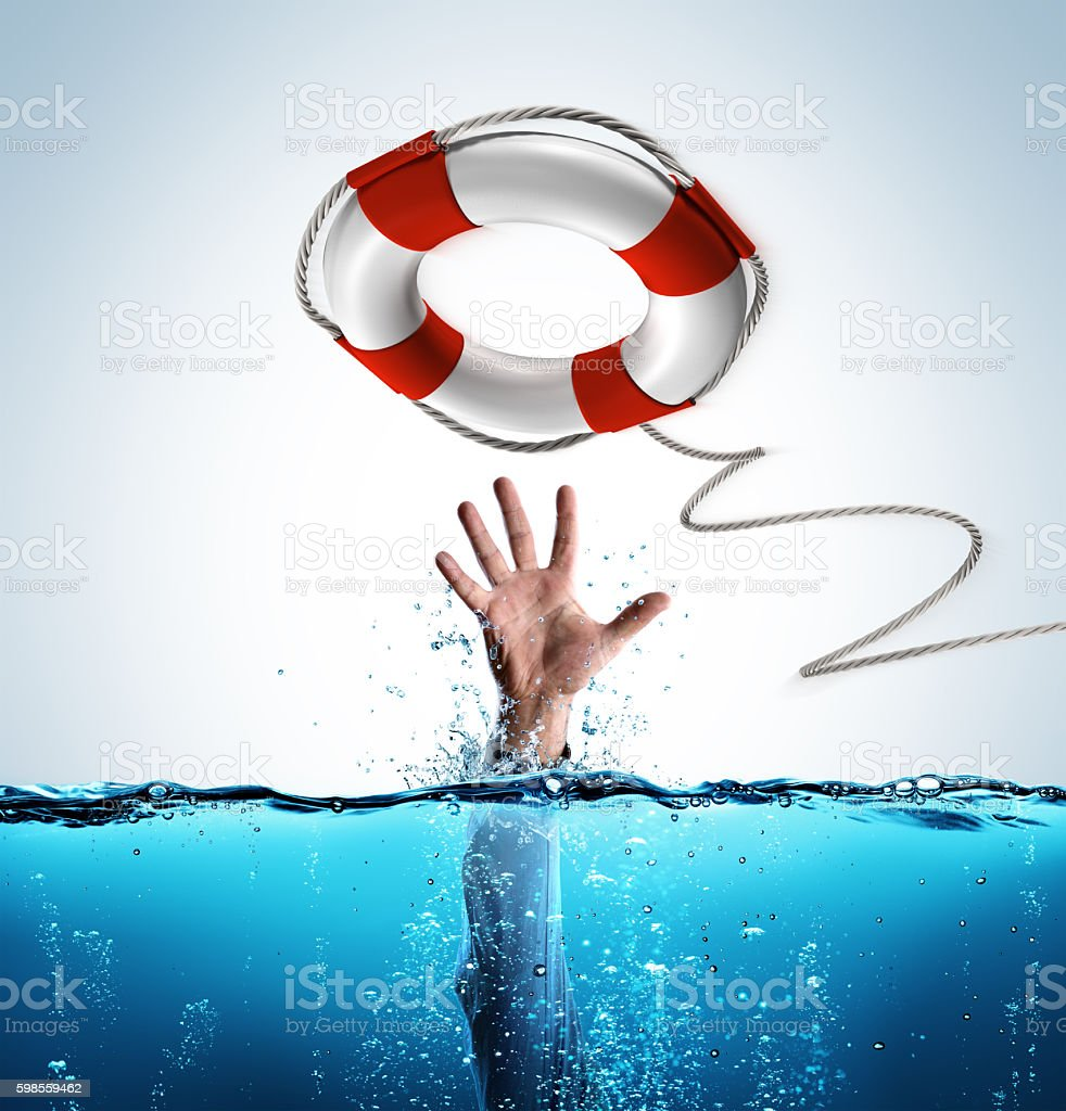 Rescue Concept - Lifesaver As Aid Of Businessman Drowning stock photo