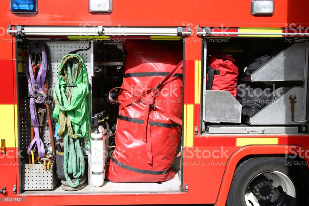 Rescue Equipment Inside packed inside a fire truck - Royalty-free Accidents and Disasters Stock Photo