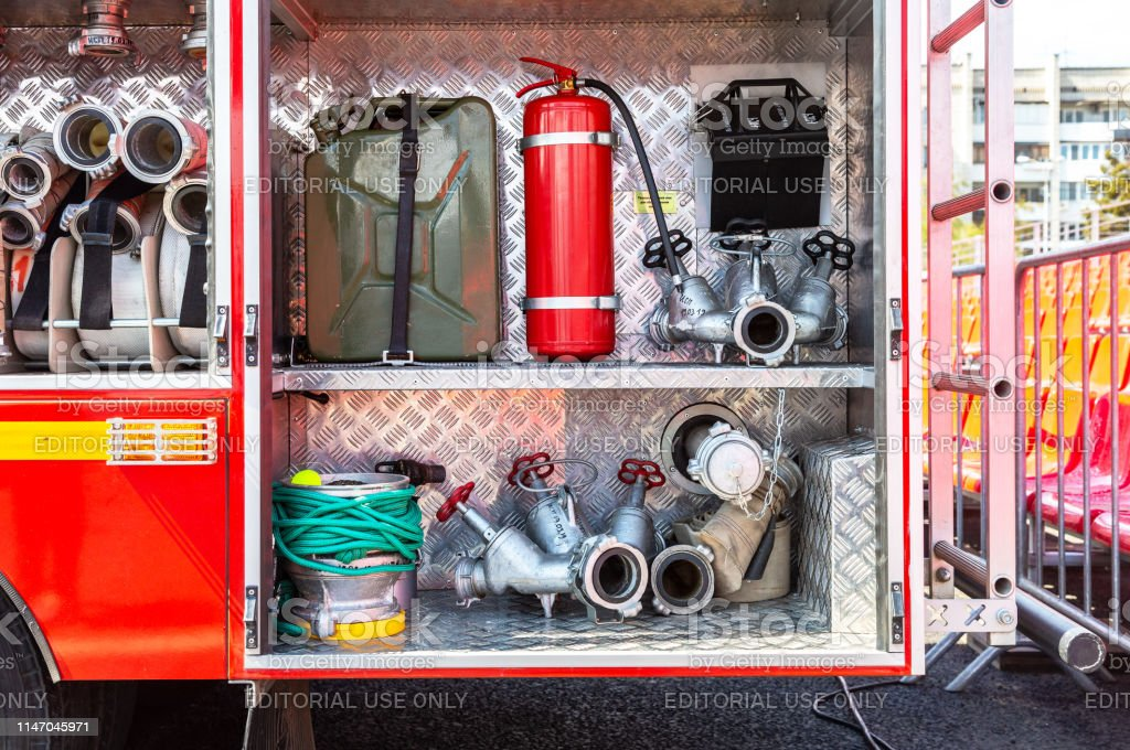 Fire and rescue equipment in a fire truck. Rescue fire truck equipment