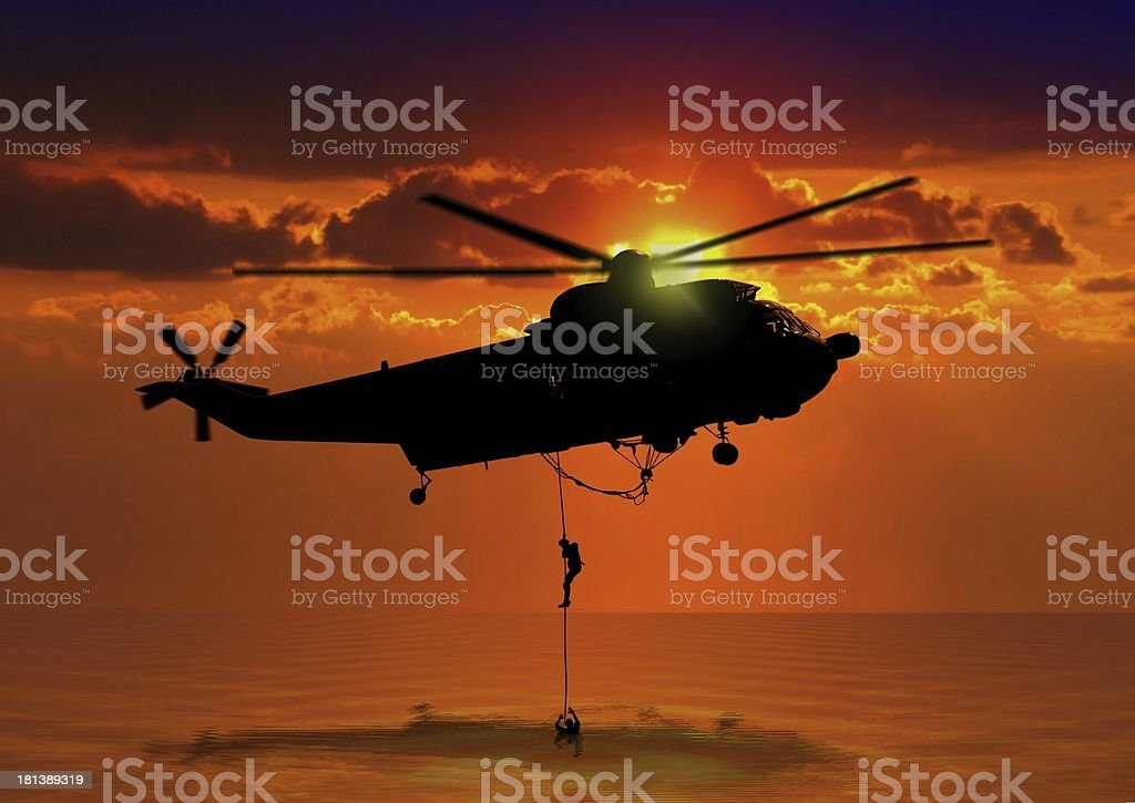 Rescue Helicopter at Sea stock photo