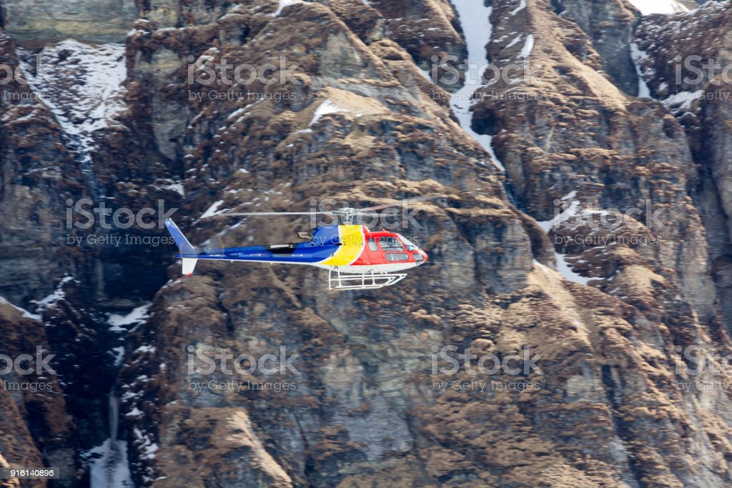 Rescue helicopter in Annapurna basecamp, Nepal stock photo