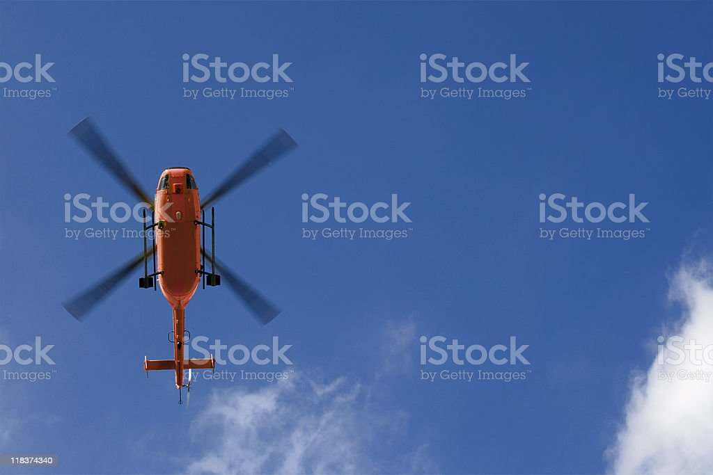 Rescue helicopter - low angle view stock photo