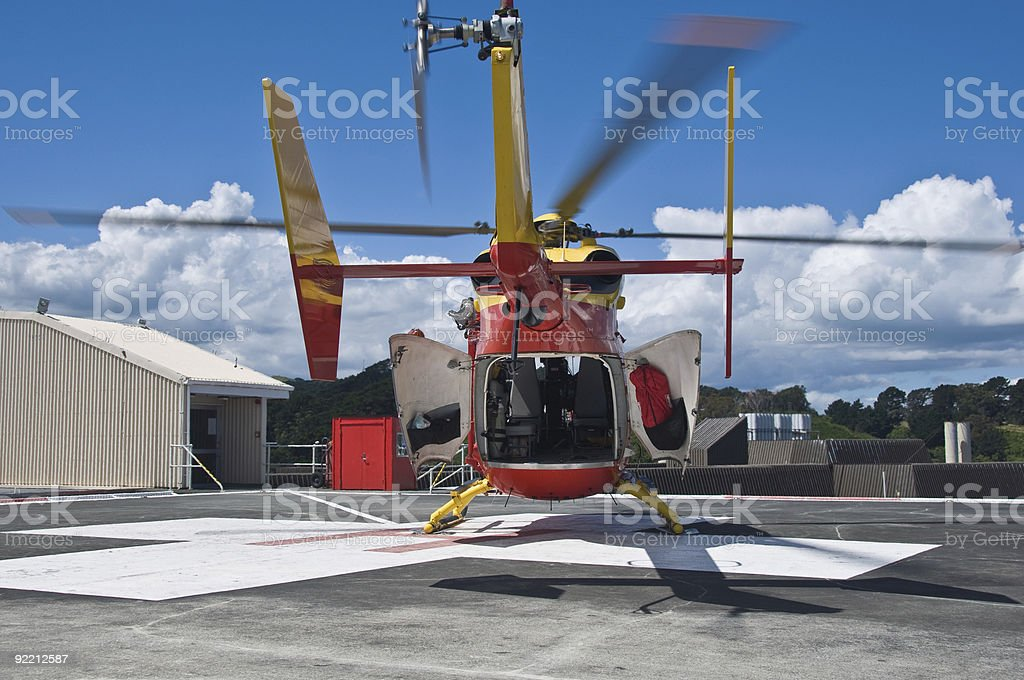 Rescue Helicopter on Helipad stock photo